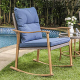 COSIEST 3-Piece Outdoor Patio Furniture Faux Woodgrain Rocking Chairs w Cobalt Blue Cushions & Round Glass-Top Table Bistro Set for Garden, Pool, Backyard