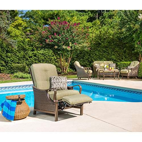 Hanover VENTURAREC Ventura Recliner Outdoor Furniture, Vintage Meadow