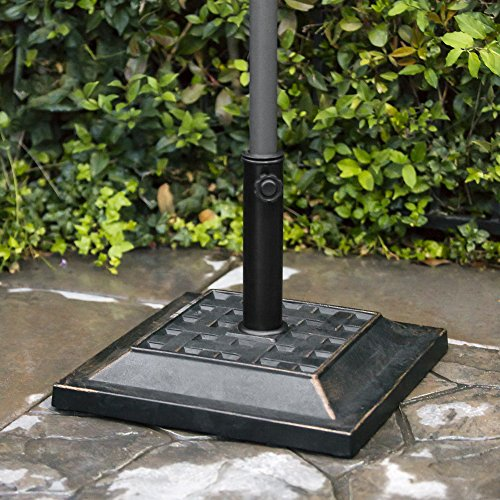 Best Choice Products 26lb Heavy-Duty Steel Square Patio Umbrella Base Stand w/Decorative Basketweave Pattern - Black