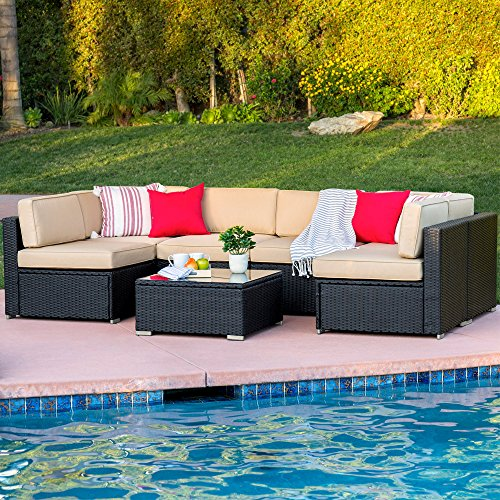 Best Choice Products 7-Piece Modular Outdoor Patio Rattan Wicker Sectional Conversation Sofa Set w/ 6 Chairs, Coffee Table, Weather-Resistant Cover, Seat Clips, Minimal Assembly Required - Black