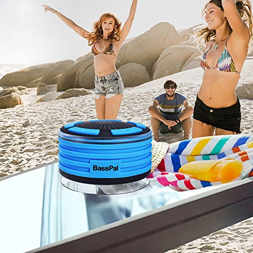 BassPal Shower Radios, IPX7 Waterproof Portable Wireless Bluetooth Speaker with LED Mood Lights, Super Bass HD Sound Shower, Pool, Beach, Kitchen&Outdoor