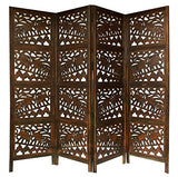 Jumbo Walk - Antique Brown 4 Panel Handcrafted Wood Room Divider Screen 72x80 - Intricately Carved on Both Sides - Fully reversible - Highly Versatile Hides Clutter, Adds Décor, and Divides the Room