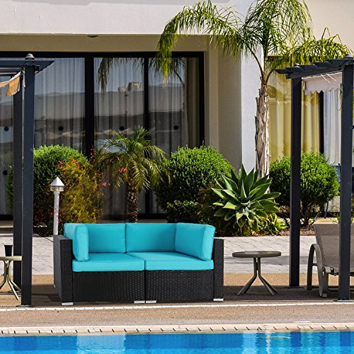 Peach Tree Wicker Loveseats Patio Sectional Corner Sofa Rattan Outdoor Thick Cotton Sofa Set