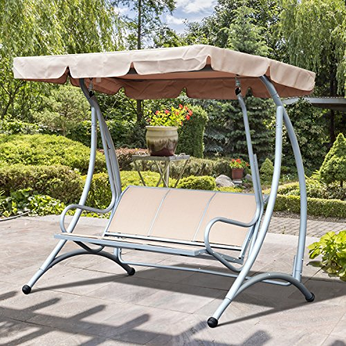 Outsunny 3 Seat Outdoor Patio Swing Bench Hammock with Canopy - Beige