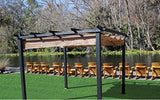 "Coolaroo Aurora Pergola, Backyard or Patio Shade Pergola, Light Filtering 90% UV Block, (9'8"" X 9'8""), Mocha"