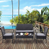 Tangkula 4 Piece Outdoor Furniture Set Patio Garden Pool Lawn Rattan Wicker Loveseat Sofa Cushioned Seat & Glass Top Coffee Table Modern Wicker Rattan Conversation Set (Black)
