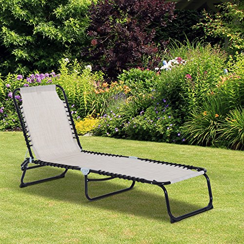 Outsunny 3-Position Reclining Beach Chair Chaise Lounge Folding Chair - Cream White