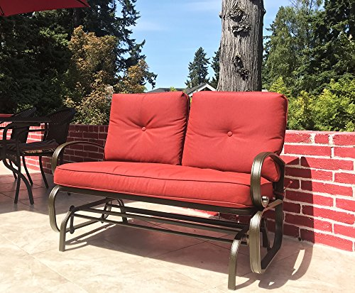 Kozyard Cozy Two Rocking Love Seats Glider Swing Bench/Rocker for Patio, Yard with Soft Cushion and Sturdy Frame (Burgundy)
