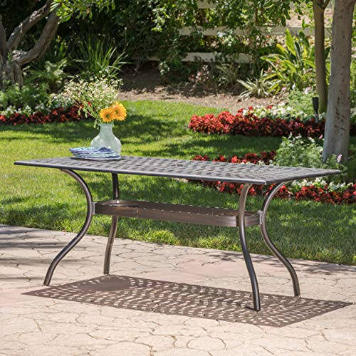 GDF Studio 300672 Augusta Outdoor Cast Aluminum Dining Table | Perfect for Patio | in Shiny Copp, Copper