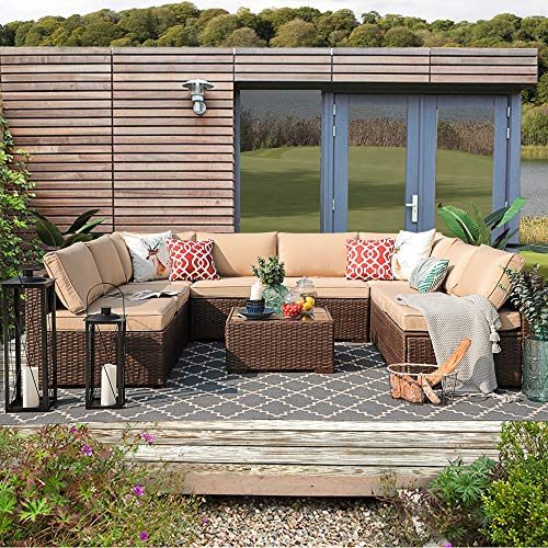 Patiorama Outdoor Furniture Sectional Sofa Set (9-Piece Set) All-Weather Brown Wicker with Beige Seat Cushions &Glass Coffee Table| Patio, Backyard, Pool| Steel Frame