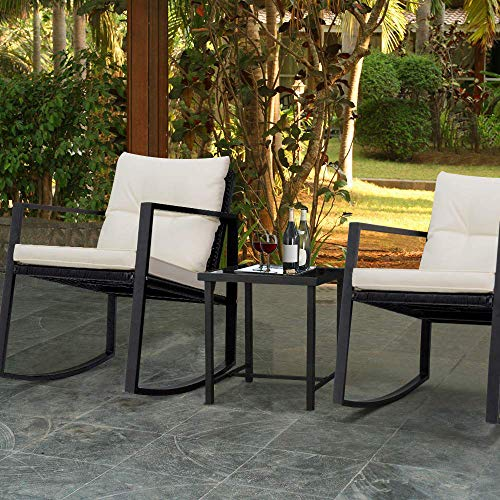 Devoko 3 Piece Bistro Sets Wicker Patio Outdoor Rocking Chairs Front Deck Porch Furniture with Glass Coffee Table (Black)
