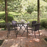 Crosley Furniture KO70012BR Palm Harbor 5-Piece Outdoor Wicker Cafe Dining Set - Brown