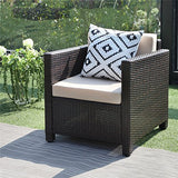 Wisteria Lane Outdoor Patio Furniture Set, 5 PieceSectional Sofa All Weather Wicker Chair Loveseat Glass Table Conversation Set,Brown
