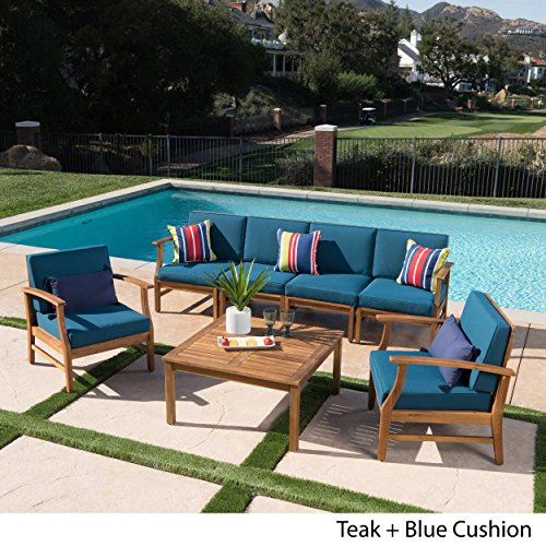 Lorelei Outdoor 6 Seater Teak Finished Acacia Wood Sofa and Club Chair Set with Blue Water Resistant Cushions
