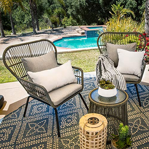 Best Choice Products 3-Piece Outdoor All-Weather Wicker Conversation Bistro Furniture Set with 2 Chairs and Glass Top Side Table, Gray
