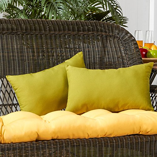 Greendale Home Fashions Rectangle Outdoor Accent Pillow (set of 2), Kiwi