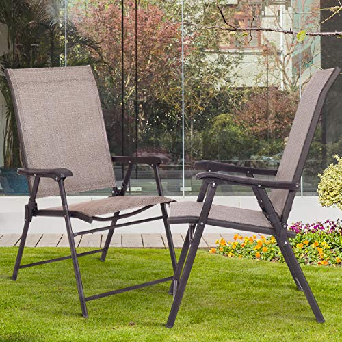 Tangkula 2 Pcs Outdoor Patio Chair Space Saving Stackable Portable Steel Frame Lawn Poolside Backyard Folding Chairs with Armrest & Footrest Commercial Party Home Use Modern Sling Chairs