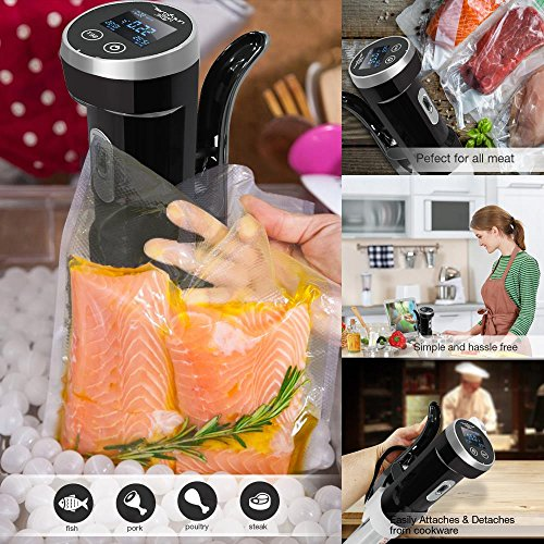 Upgraded NutriChef Sous Vide Cooker -   Ultra-quiet 1200 Watt Thermal Immersion Circulator, Accurate Time / Temperature Digital LCD Display, Stainless Steel - Use with Ziplock Bags - PKPC120BK