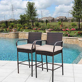 Sundale Outdoor 2 Pcs All Weather Patio Furniture Set Brown Wicker Barstool with Beige Cushions, Back Support and Armrest