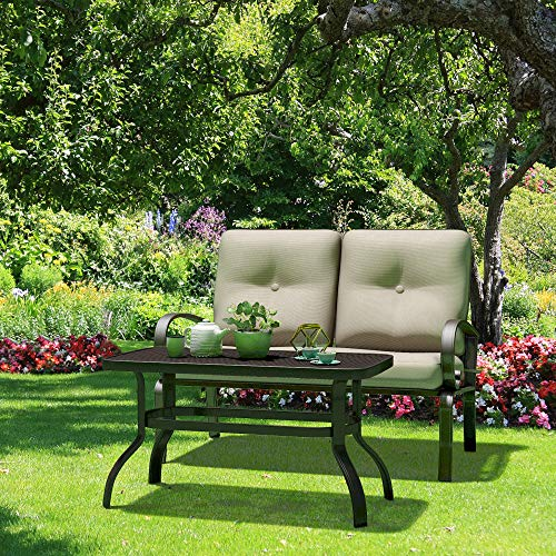 Giantex 2 Pcs Patio Loveseat with Coffee Table Outdoor Bench with Cushion and Metal Frame, Loveseat Furniture Set Sofa for Garden, Yard, Patio or Poolside