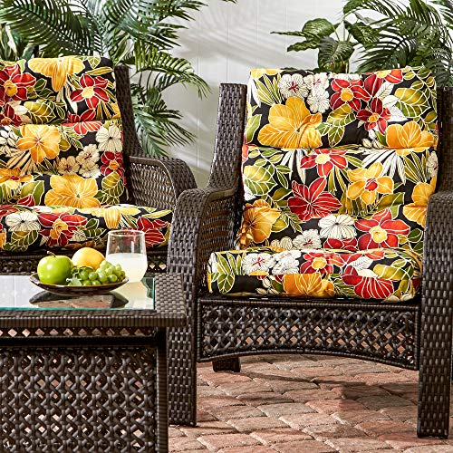 Greendale Home Fashions Indoor/Outdoor High Back Chair Cushion Aloha Black, Set of 2 + Free Home Decor