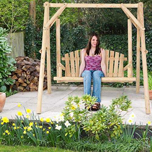 Tangkula Wooden Porch Swing, Outdoor Patio Garden Rustic Curved Back A-Frame Wood Swing Bench Chair