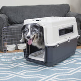 SportPet Designs Plastic Kennels Rolling Plastic Wire Door Travel Dog Crate- Large Kennel