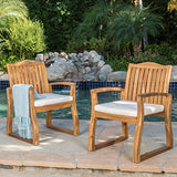Christopher Knight Home Tampa Teak Finish Acacia Wood Outdoors Dining Chairs (Set of 2)