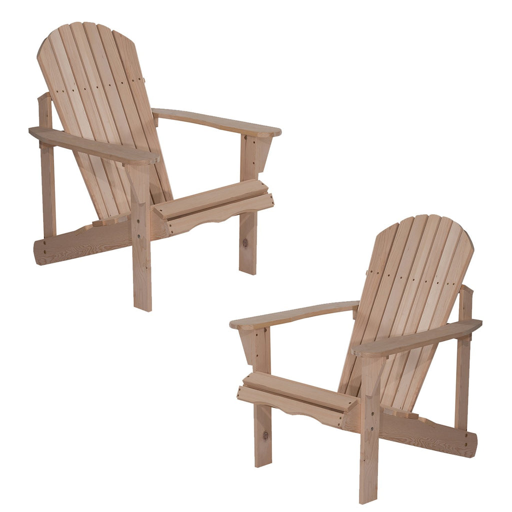 UHOM Outdoor Patio Lawn Deck Adirondack Wood Chairs Set Garden Furniture Set of 2