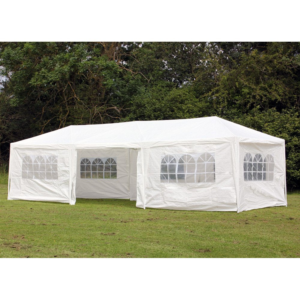 Palm Springs 10 x 30 Foot White Party Tent Gazebo Canopy with Sidewalls