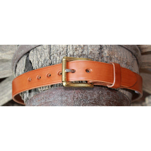 "1 1/4"" Unlined Belt Tan- longer buckle-Atomic 79"