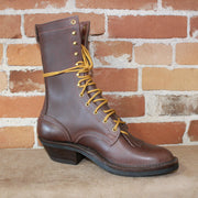 "10"" Leather Lace-up Cowboy Packer Boot In Walnut-Atomic 79"