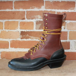 "10"" Two Tone Leathe Lace-up Buckaroo Packer In Chocolate Over Black - Atomic 79"