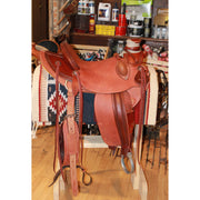 "15 1/2"" 3B Visalia Saddle with Natural and Mahogany Leather & Pearl Tooling-Atomic 79"