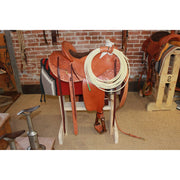 "15 1/2"" Wade Tree Saddle Flat Plate Rolled Lip Floral Halfbreed Tooling Hardwood Nettles Stirrups-Atomic 79"