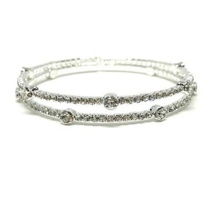 2 Row Silver Finish Crystal Bracelet-Atomic 79