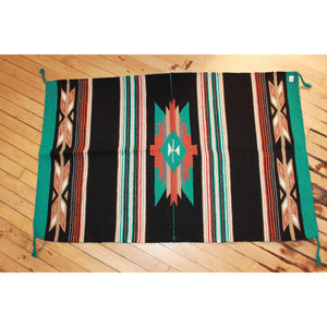 30x45 Acrylic Cantina Throw Rug in Black Teal and Tan-Atomic 79