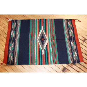 30x45 Acrylic Cantina Throw Rug in Blue Rust and Turquoise-Atomic 79