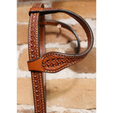 "5/8"" Double Ear Full Sliding Conco Ear Headstall W 1 1/2"" Cheeks, Tooled Crazy Basket Tooling, Med Oil-Atomic 79"