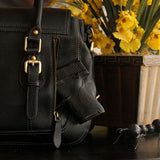 Aged Black Leather Satchel Concealed Carry W/Interior or Exterior Access-Atomic 79