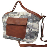Ainsley Canvas and Leather Tote W/4 Compartments in Camo-Atomic 79