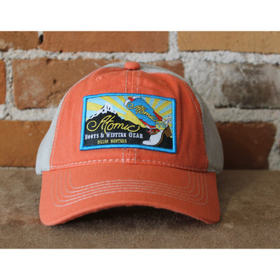 Atomic 79 Hat In Orange W/Mesh And Sunrise Logo-Atomic 79