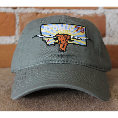 Atomic 79 Hat With Steerhead On Green Canvas-Atomic 79