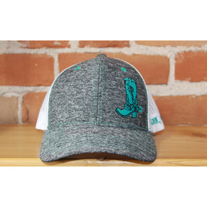 Atomic 79 Heather Grey Ball Cap W/White Mesh and Turquoise Stitching-Atomic 79
