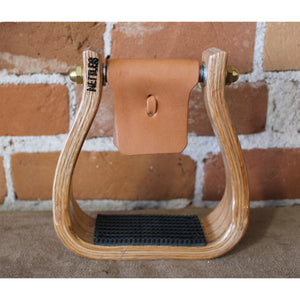 Barrel Racer Stirrups W/Gripper And Varnish Finish-Atomic 79