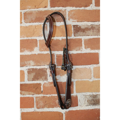 Basin Cowboy One Ear Headstall In Brown Leather-Atomic 79