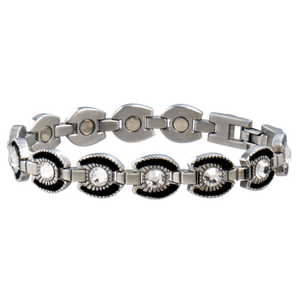 Black Horseshoe Magnetic Bracelet W/Clear Gems-Atomic 79