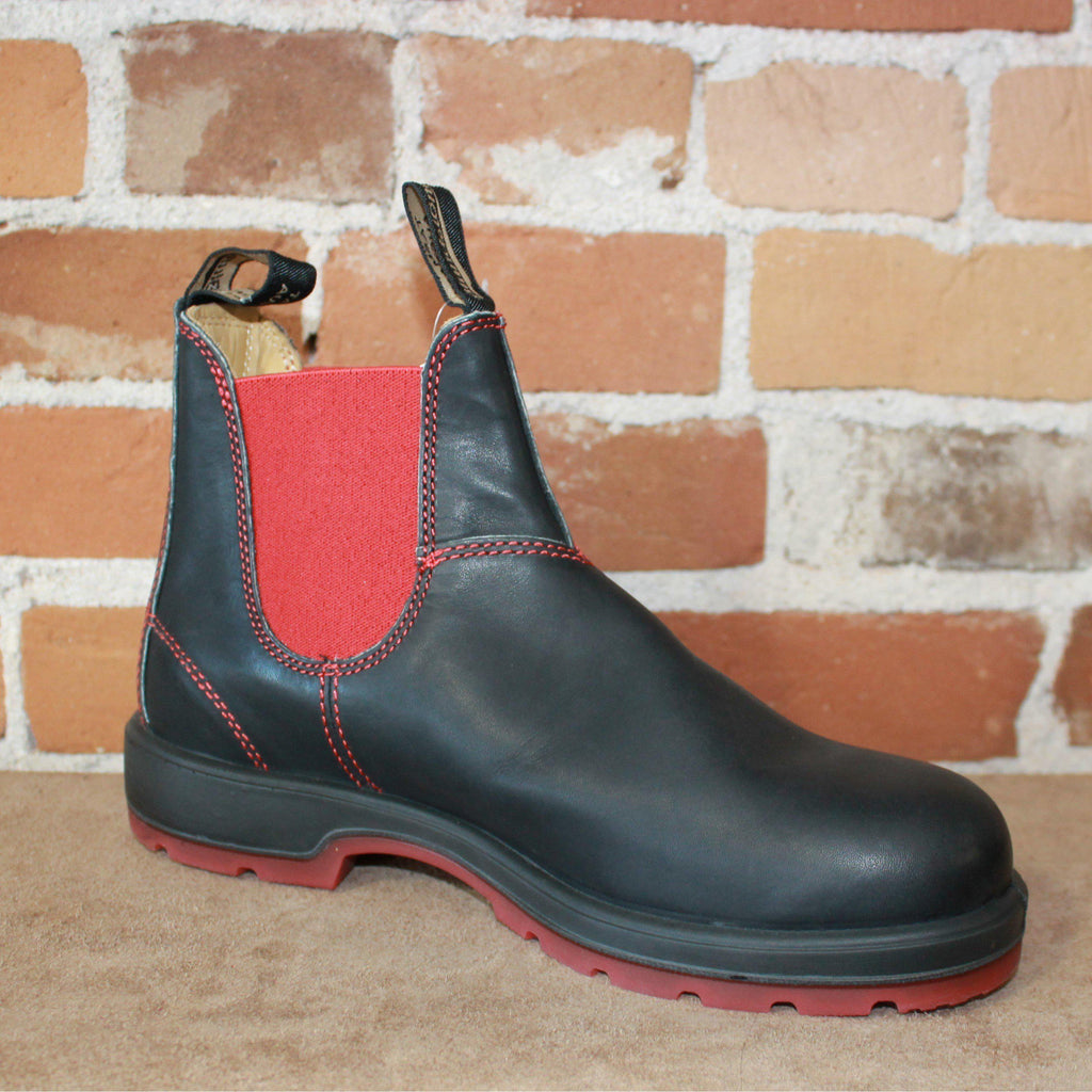 0acea5495d7 Blundstone Slip On In Black Premium Leather With Red Elastic And Red  Outsole.