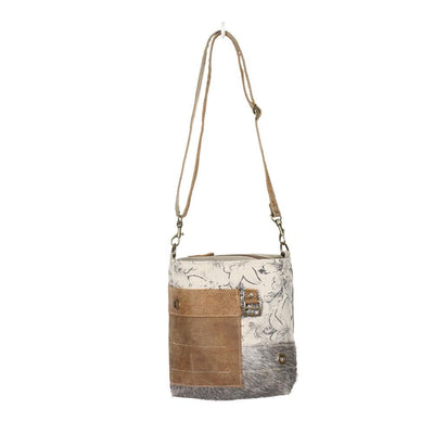 Canvas Babble Shoulder Bag W/Hair and Leather Accents-Atomic 79
