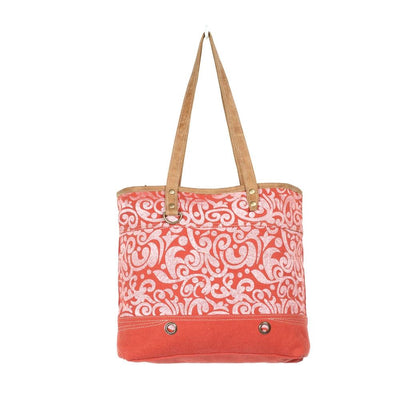 Canvas Cherry Tote Bag W/Leather Accents-Atomic 79